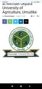 Ongoing Recruitment at Michael Okpara University of Agriculture, Umudike